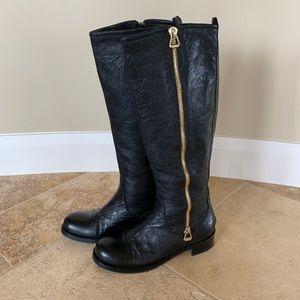 Jimmy Choo Black Leather Zip Boots
